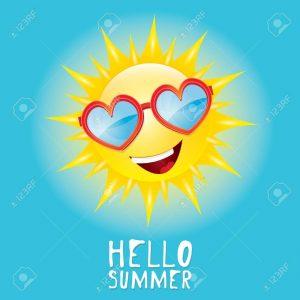 Hello Summer. vector summer smiling sun in blue sky