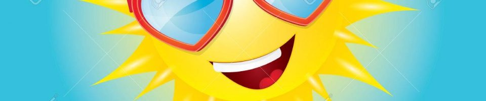 Hello Summer. vector summer smiling sun in blue sky